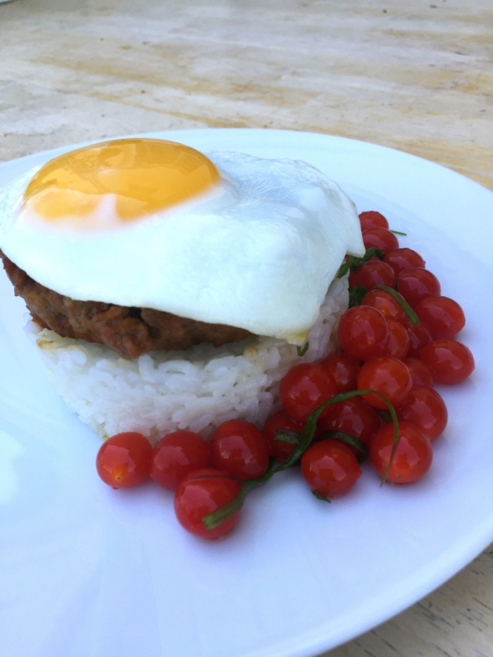 Longanisa with Sunny Side Egg, Garlic Rice and Tomato Berry, Scallion Salad